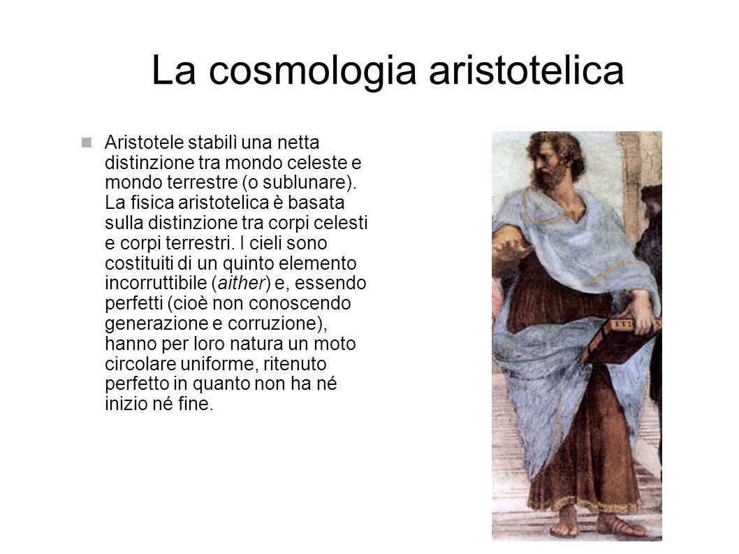 La cosmologia aristotelica Aristotele stabilì una netta distinzione tra mondo celeste e mondo terrestre (o sublunare).