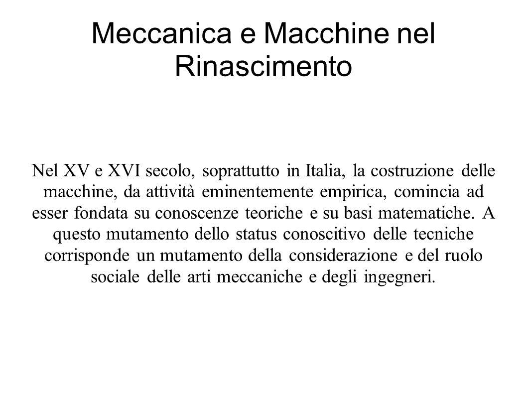 Nel XV e XVI secolo, soprattutto in Italia, la costruzione delle macchine, da attività eminentemente empirica, comincia ad esser fondata su conoscenze teoriche e su basi matematiche.