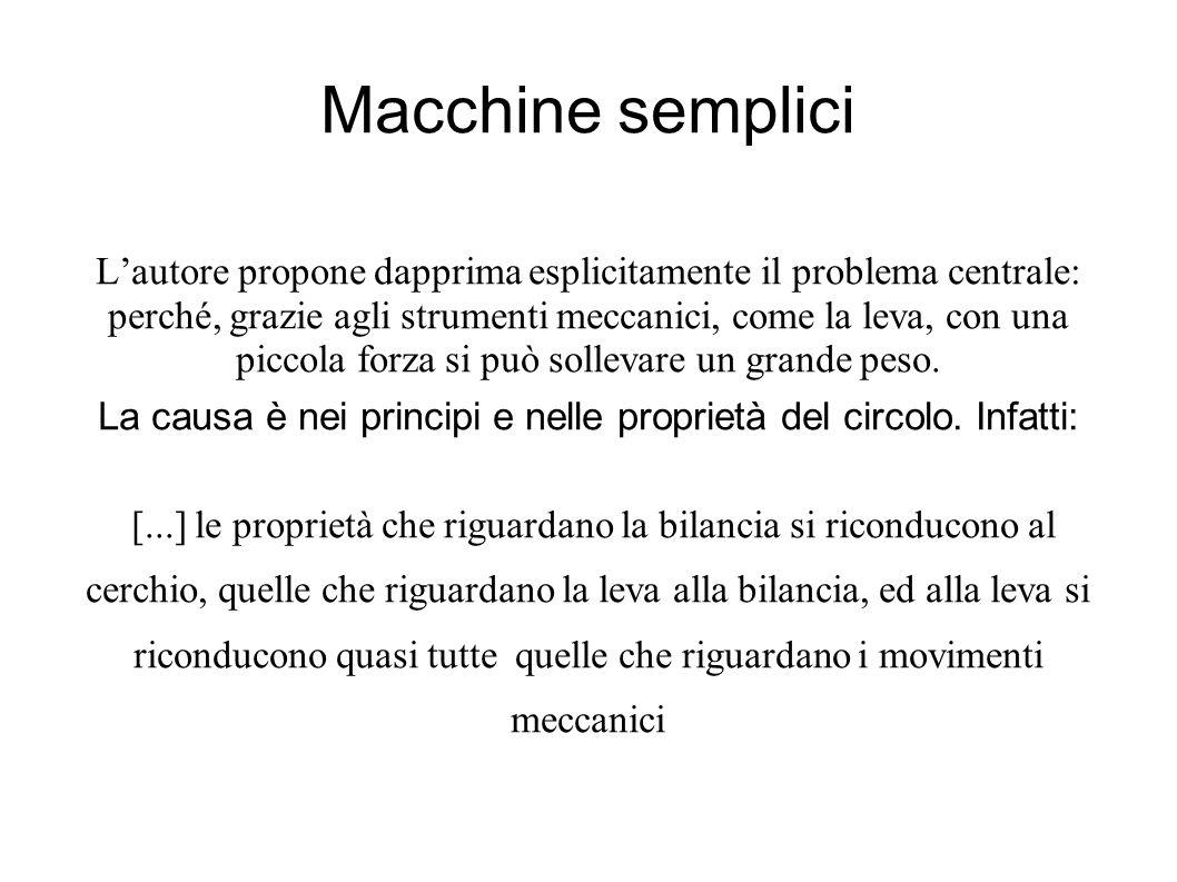 Macchine semplici Lautore propone dapprima esplicitamente il problema centrale: perché, grazie agli strumenti meccanici, come la leva, con una piccola forza si può sollevare un grande peso.