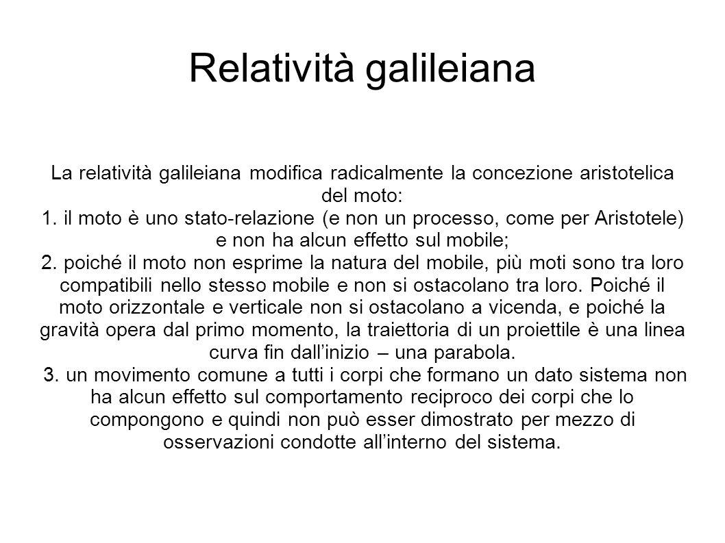Relatività galileiana La relatività galileiana modifica radicalmente la concezione aristotelica del moto: 1.