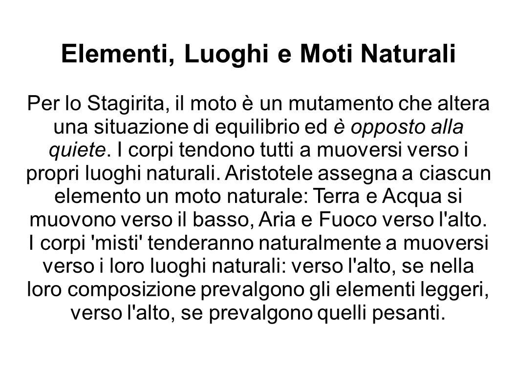 Elementi, Luoghi e Moti Naturali Per lo Stagirita, il moto è un mutamento che altera una situazione di equilibrio ed è opposto alla quiete.