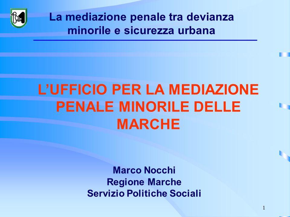 1 Marco Nocchi Regione Marche Servizio Politiche Sociali LUFFICIO PER LA MEDIAZIONE PENALE MINORILE DELLE MARCHE La mediazione penale tra devianza min