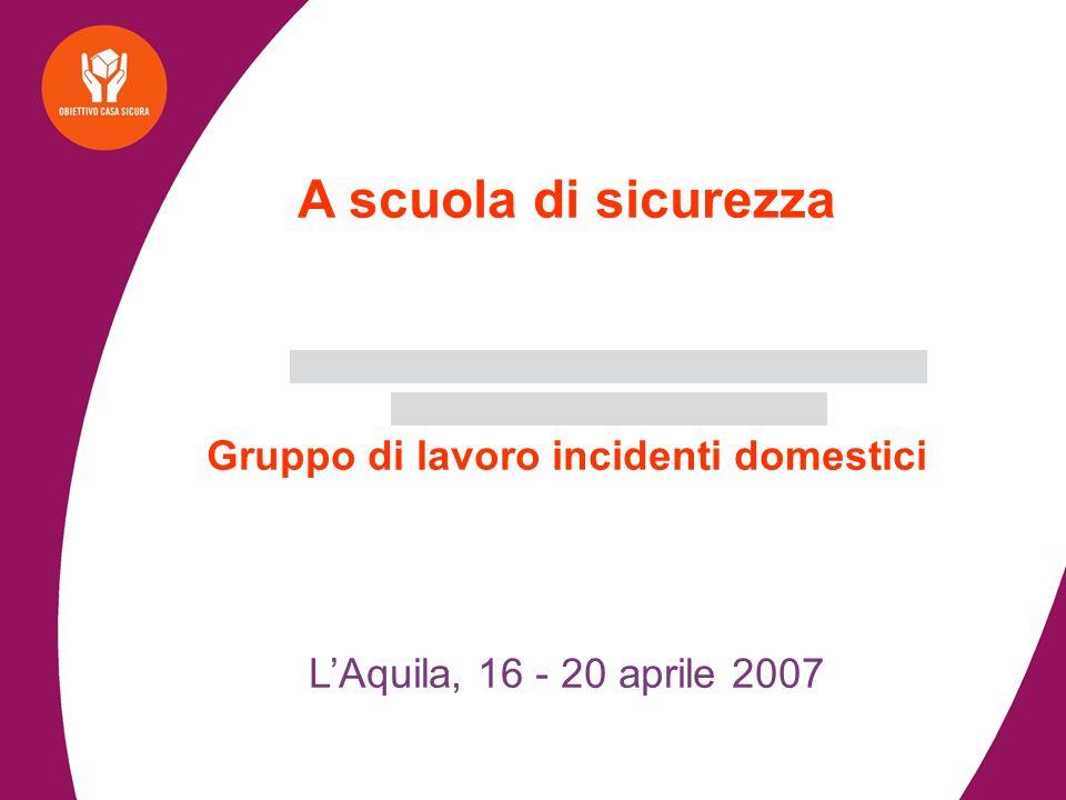 A scuola di sicurezza Gruppo di lavoro incidenti domestici LAquila, 16 - 20 aprile 2007