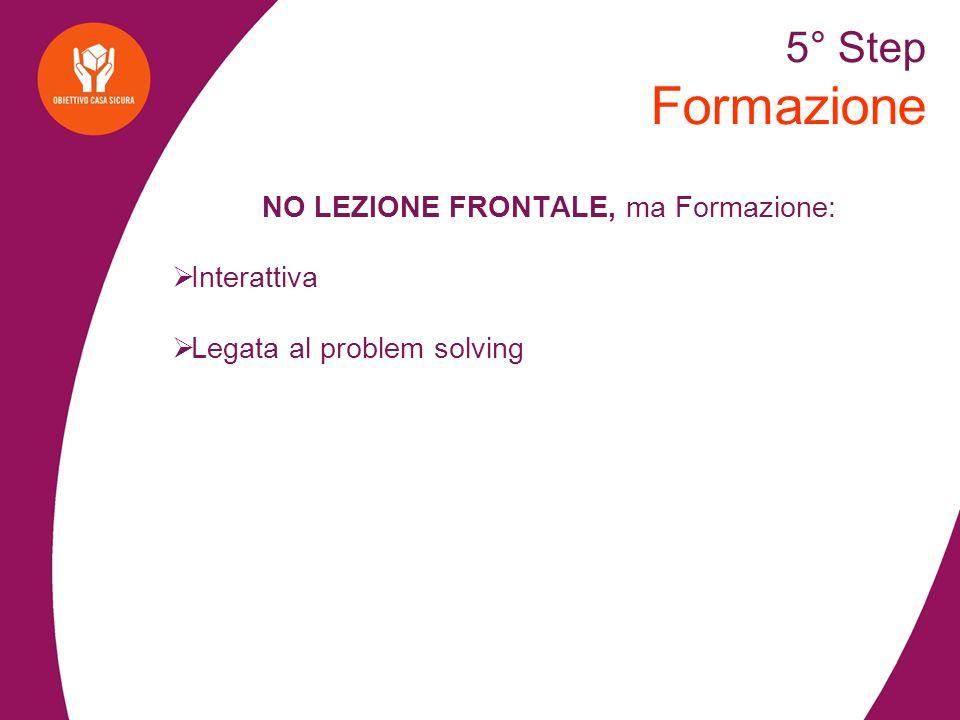 5° Step Formazione NO LEZIONE FRONTALE, ma Formazione: Interattiva Legata al problem solving