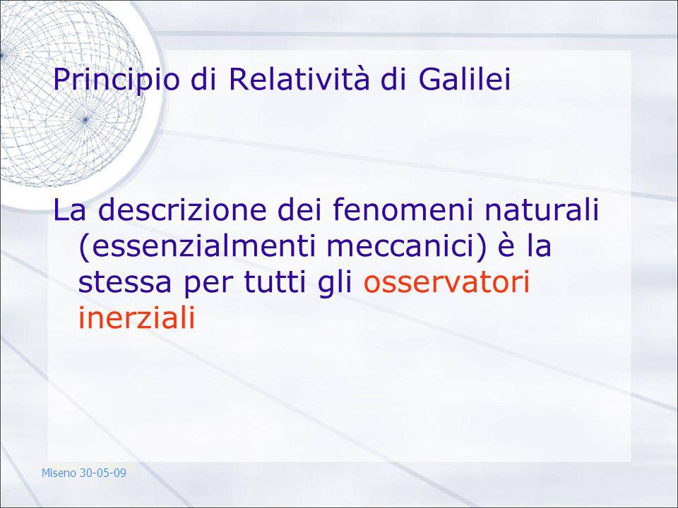 Principio di Relatività di Galilei La descrizione dei fenomeni naturali (essenzialmenti meccanici) è la stessa per tutti gli osservatori inerziali Mis
