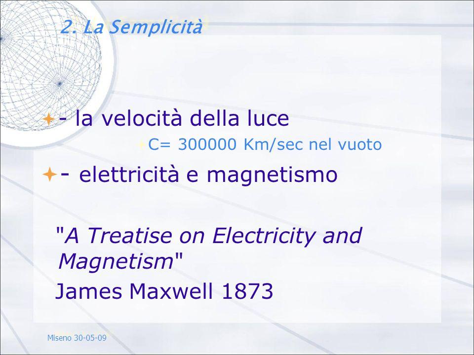 - la velocità della luce C= 300000 Km/sec nel vuoto - elettricità e magnetismo