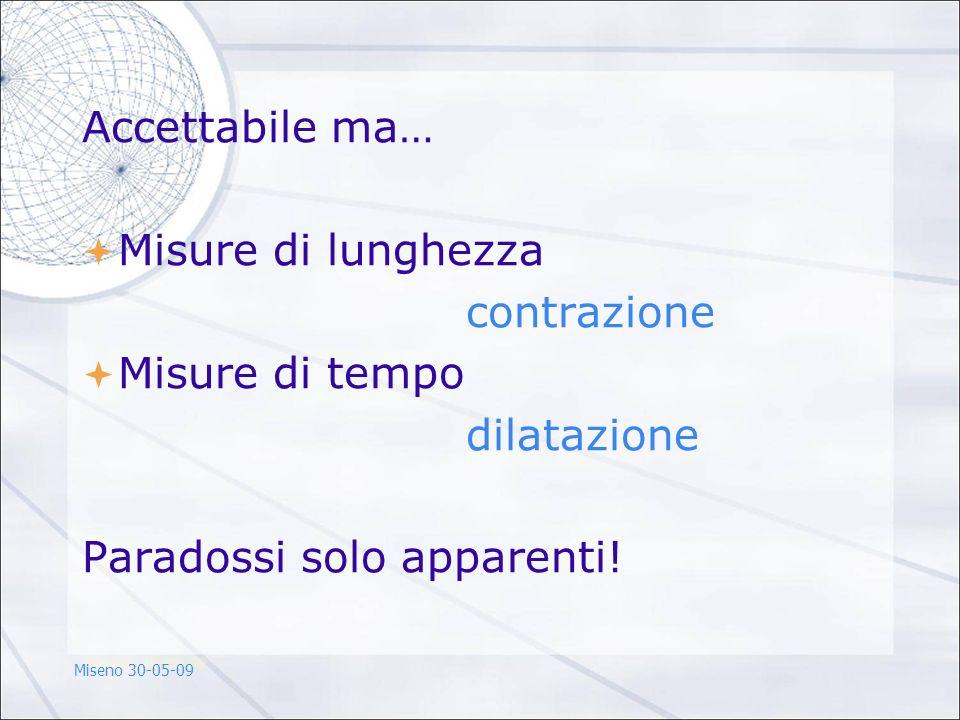Accettabile ma… Misure di lunghezza contrazione Misure di tempo dilatazione Paradossi solo apparenti! Miseno 30-05-09
