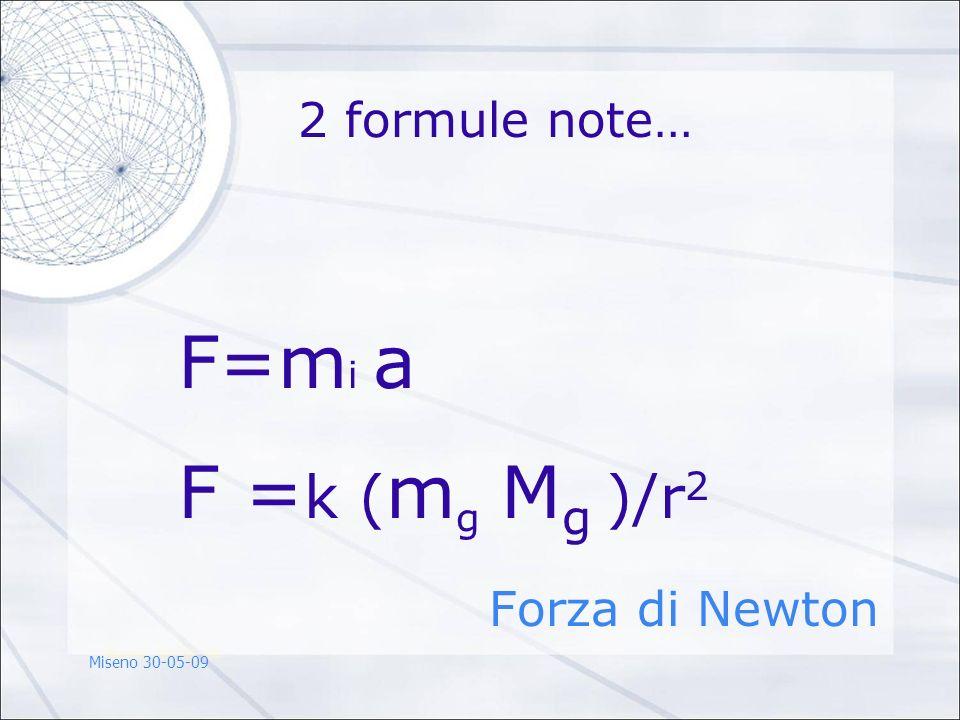 2 formule note… F=m i a F = k ( m g M g )/r 2 Forza di Newton Miseno 30-05-09