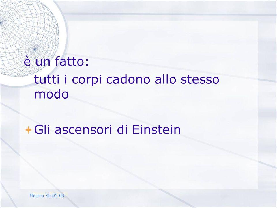 è un fatto: tutti i corpi cadono allo stesso modo Gli ascensori di Einstein Miseno 30-05-09