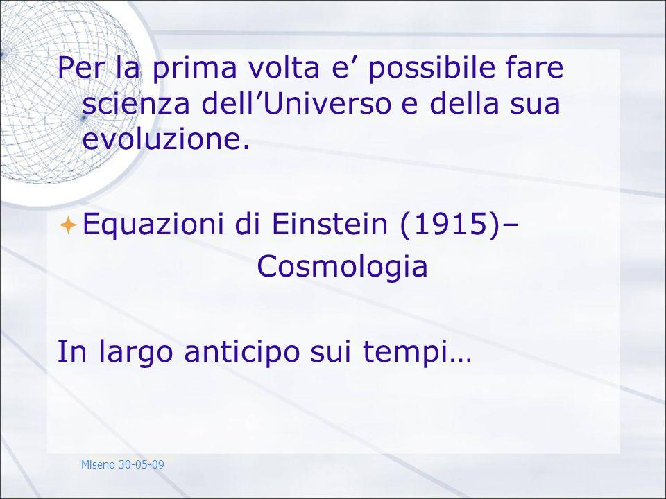 Per la prima volta e possibile fare scienza dellUniverso e della sua evoluzione. Equazioni di Einstein (1915)– Cosmologia In largo anticipo sui tempi…