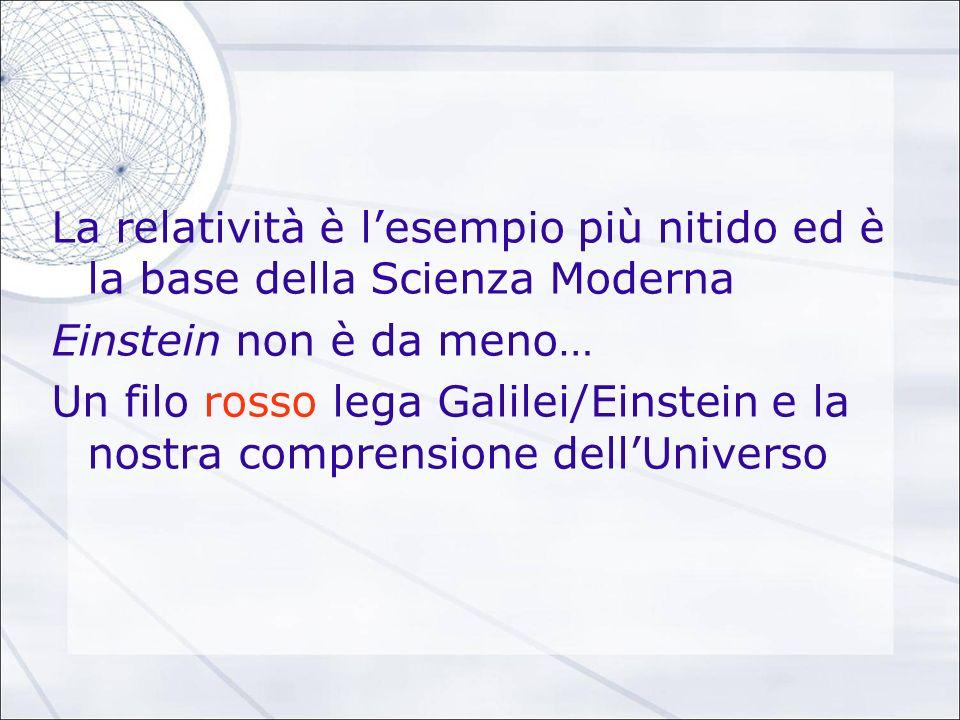 La relatività è lesempio più nitido ed è la base della Scienza Moderna Einstein non è da meno… Un filo rosso lega Galilei/Einstein e la nostra compren