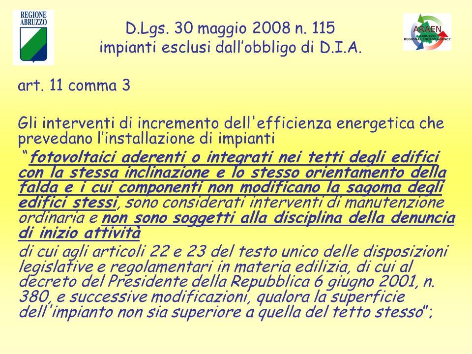 D.Lgs. 30 maggio 2008 n. 115 impianti esclusi dallobbligo di D.I.A.
