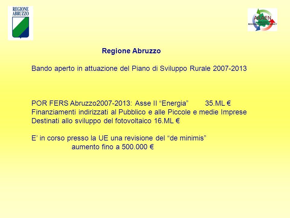 Regione Abruzzo Bando aperto in attuazione del Piano di Sviluppo Rurale 2007-2013 POR FERS Abruzzo2007-2013: Asse II Energia 35.ML Finanziamenti indirizzati al Pubblico e alle Piccole e medie Imprese Destinati allo sviluppo del fotovoltaico 16.ML E in corso presso la UE una revisione del de minimis aumento fino a 500.000