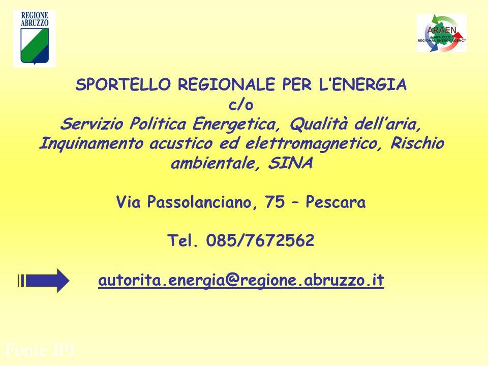 Fonte IPI SPORTELLO REGIONALE PER LENERGIA c/o Servizio Politica Energetica, Qualità dellaria, Inquinamento acustico ed elettromagnetico, Rischio ambientale, SINA Via Passolanciano, 75 – Pescara Tel.