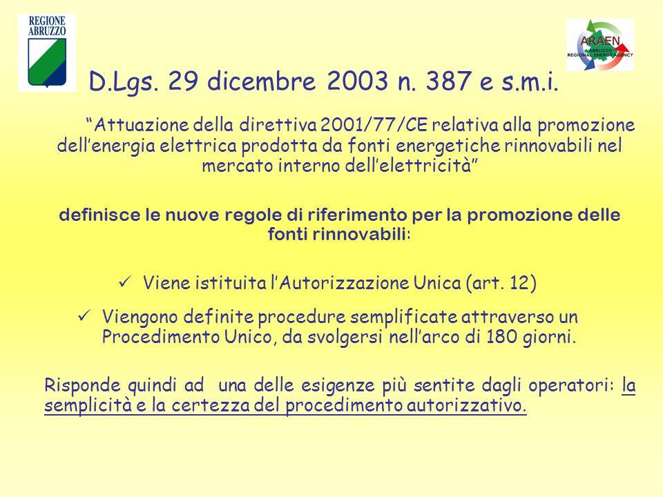 Attuazione della direttiva 2001/77/CE relativa alla promozione dellenergia elettrica prodotta da fonti energetiche rinnovabili nel mercato interno dellelettricità definisce le nuove regole di riferimento per la promozione delle fonti rinnovabili : Viene istituita lAutorizzazione Unica (art.