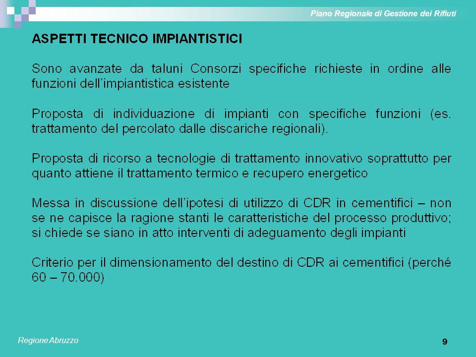 9 Piano Regionale di Gestione dei Rifiuti Regione Abruzzo