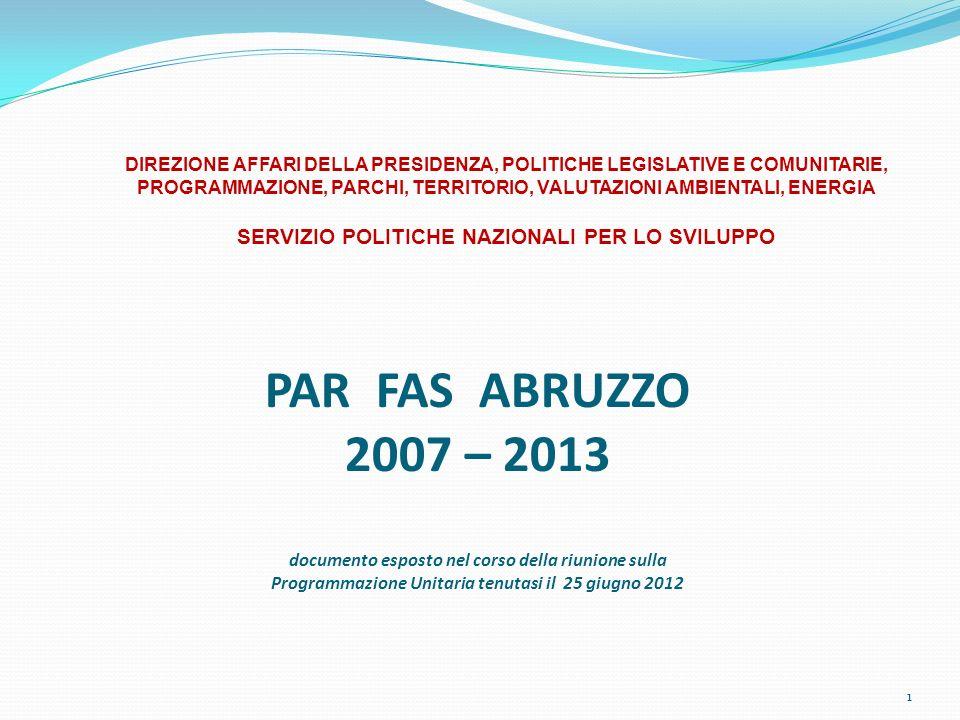 PAR FAS ABRUZZO 2007 – 2013 documento esposto nel corso della riunione sulla Programmazione Unitaria tenutasi il 25 giugno 2012 1 DIREZIONE AFFARI DEL