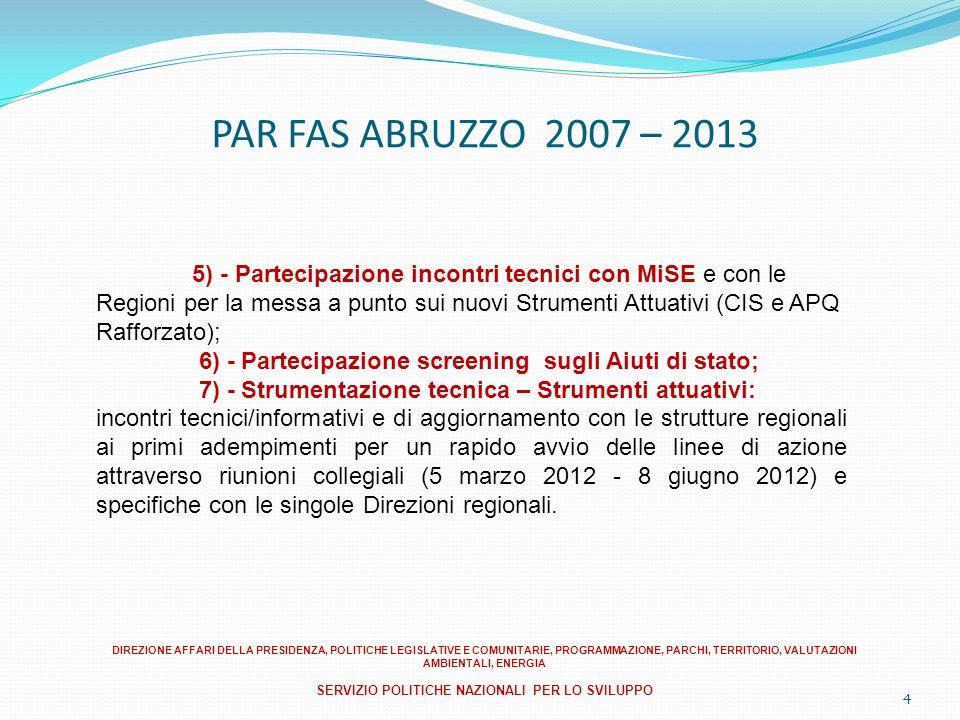 4 PAR FAS ABRUZZO 2007 – 2013 5) - Partecipazione incontri tecnici con MiSE e con le Regioni per la messa a punto sui nuovi Strumenti Attuativi (CIS e