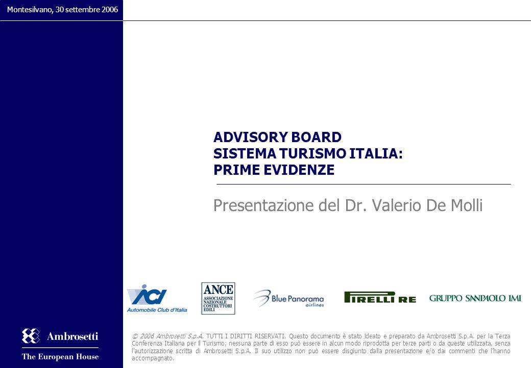 ADVISORY BOARD SISTEMA TURISMO ITALIA: PRIME EVIDENZE Presentazione del Dr. Valerio De Molli Montesilvano, 30 settembre 2006 © 2006 Ambrosetti S.p.A.