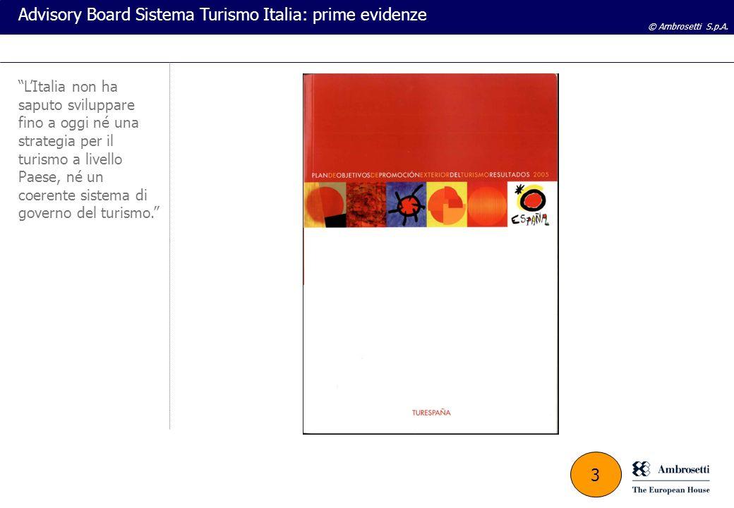 © Ambrosetti S.p.A. Advisory Board Sistema Turismo Italia: prime evidenze LItalia non ha saputo sviluppare fino a oggi né una strategia per il turismo