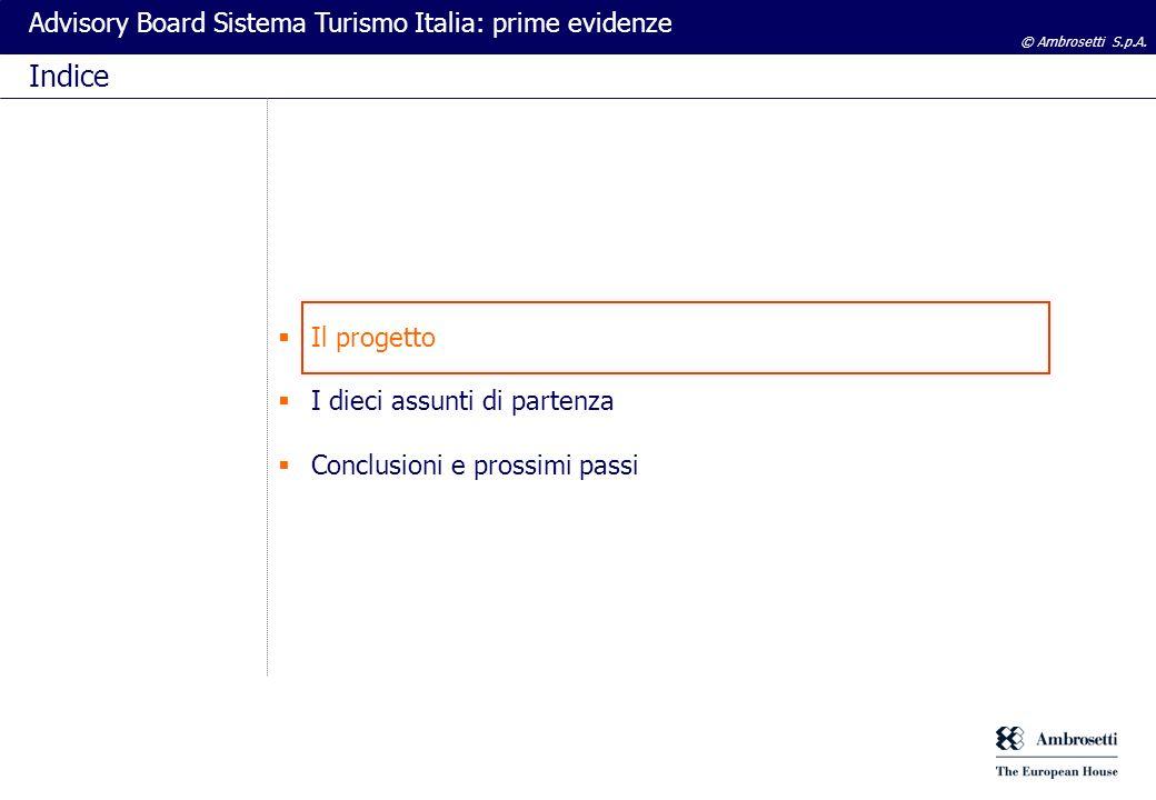 © Ambrosetti S.p.A.Advisory Board Sistema Turismo Italia: prime evidenze Obiettivi del progetto 1.