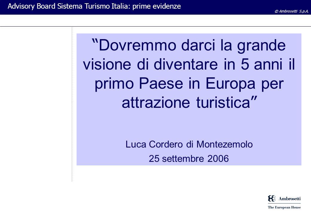 © Ambrosetti S.p.A. Advisory Board Sistema Turismo Italia: prime evidenze Dovremmo darci la grande visione di diventare in 5 anni il primo Paese in Eu