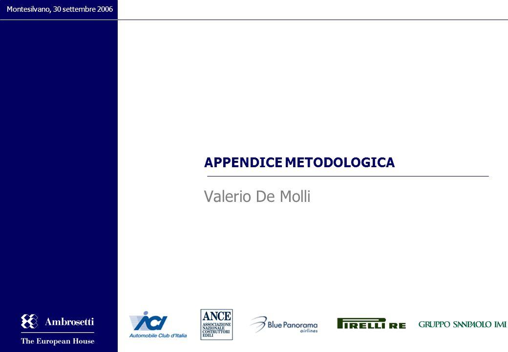 APPENDICE METODOLOGICA Valerio De Molli Montesilvano, 30 settembre 2006