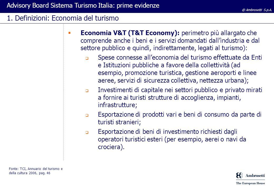 © Ambrosetti S.p.A. Advisory Board Sistema Turismo Italia: prime evidenze 1. Definizioni: Economia del turismo Economia V&T (T&T Economy): perimetro p