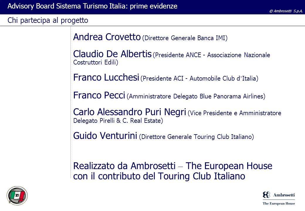 © Ambrosetti S.p.A. Advisory Board Sistema Turismo Italia: prime evidenze Andrea Crovetto (Direttore Generale Banca IMI) Claudio De Albertis (Presiden