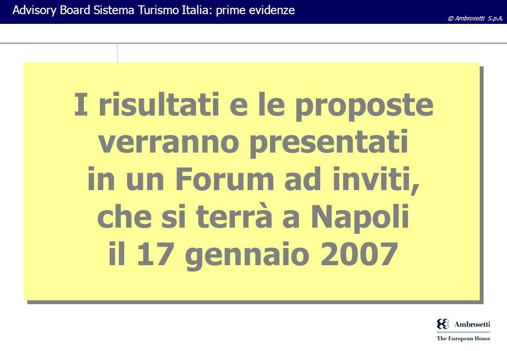 © Ambrosetti S.p.A. Advisory Board Sistema Turismo Italia: prime evidenze I risultati e le proposte verranno presentati in un Forum ad inviti, che si