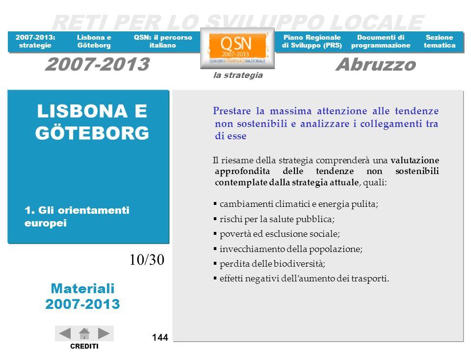 RETI PER LO SVILUPPO LOCALE 2007-2013: strategie 2007-2013: strategie Materiali 2007-2013 Lisbona e Göteborg Lisbona e Göteborg QSN: il percorso itali