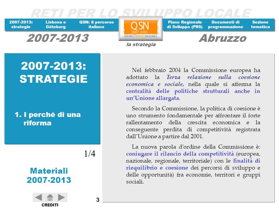 RETI PER LO SVILUPPO LOCALE 2007-2013: strategie 2007-2013: strategie Materiali 2007-2013 Lisbona e Göteborg Lisbona e Göteborg QSN: il percorso italiano QSN: il percorso italiano Piano Regionale di Sviluppo (PRS) Piano Regionale di Sviluppo (PRS) Documenti di programmazione Documenti di programmazione Sezione tematica Sezione tematica la strategia 2007-2013Abruzzo CREDITI 104 Sito Commissione europea http://europa.eu.int/comm/index_it.htm Sito Commissione europea, DG Regio http://europa.eu.int/comm/regional_policy/newsroom/ index_fr.htm Sito Commissione europea, DG Allargamento http://europa.eu.int/comm/enlargement/index.htm Sito Parlamento europeo http://www.europarl.eu.int/news/public/default_it.ht m Sito del Consiglio dellUE http://ue.eu.int/showPage.ASP?lang=it Sito Commissione europea – Growth and Jobs http://europa.eu.int/growthandjobs/ 3.