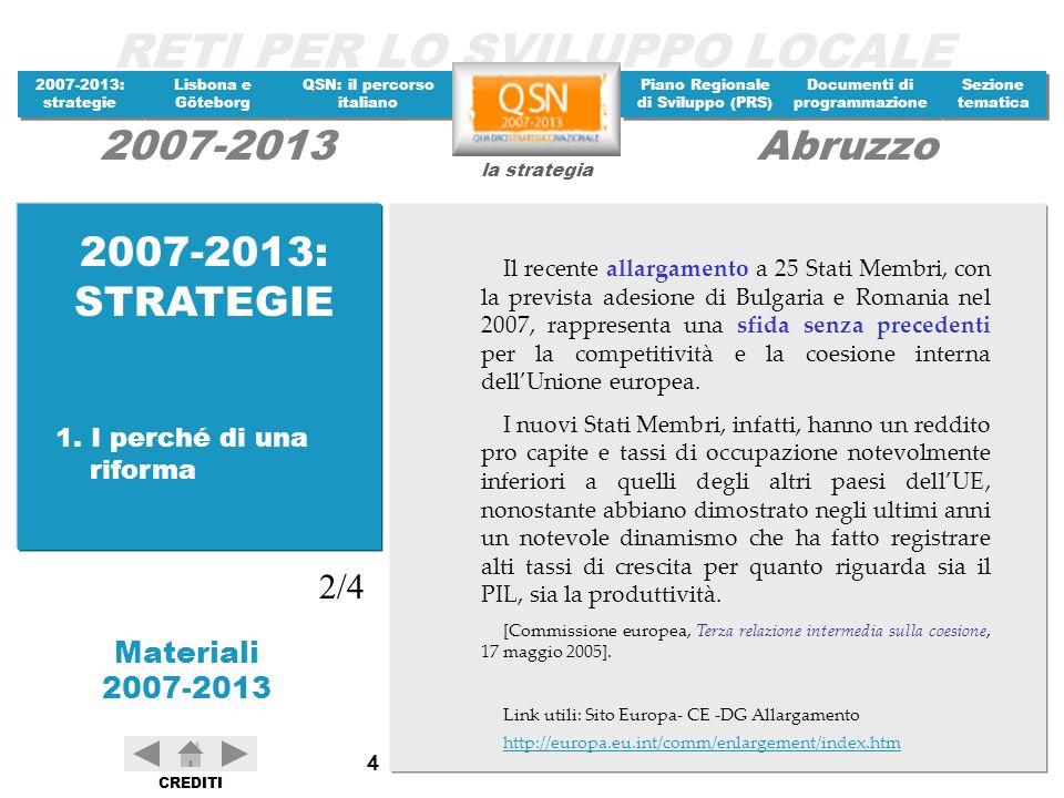 RETI PER LO SVILUPPO LOCALE 2007-2013: strategie 2007-2013: strategie Materiali 2007-2013 Lisbona e Göteborg Lisbona e Göteborg QSN: il percorso italiano QSN: il percorso italiano Piano Regionale di Sviluppo (PRS) Piano Regionale di Sviluppo (PRS) Documenti di programmazione Documenti di programmazione Sezione tematica Sezione tematica la strategia 2007-2013Abruzzo CREDITI 65 Il QSN costituirà la base di riferimento per lelaborazione dei Programmi operativi, ai quali spetta la gestione degli interventi in linea con le priorità stabilite negli orientamenti del Consiglio europeo.