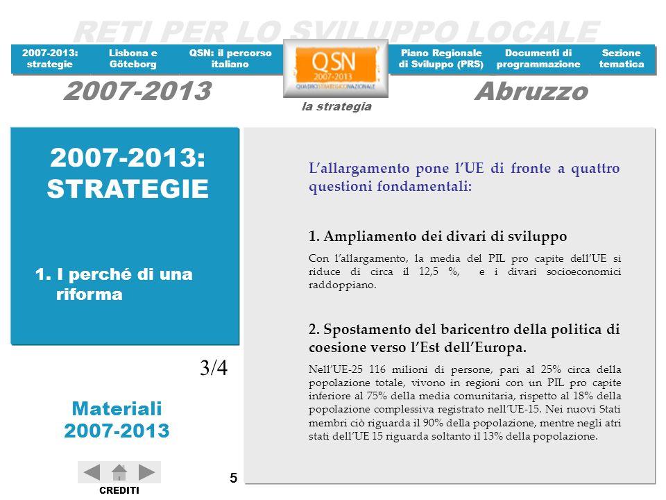 RETI PER LO SVILUPPO LOCALE 2007-2013: strategie 2007-2013: strategie Materiali 2007-2013 Lisbona e Göteborg Lisbona e Göteborg QSN: il percorso italiano QSN: il percorso italiano Piano Regionale di Sviluppo (PRS) Piano Regionale di Sviluppo (PRS) Documenti di programmazione Documenti di programmazione Sezione tematica Sezione tematica la strategia 2007-2013Abruzzo CREDITI 106 DOCUMENTI MEF - Dipartimento Politiche di Coesione, Secondo Memorandum Italiano sulla riforma della politica regionale di coesione comunitaria (Dicembre 2002).