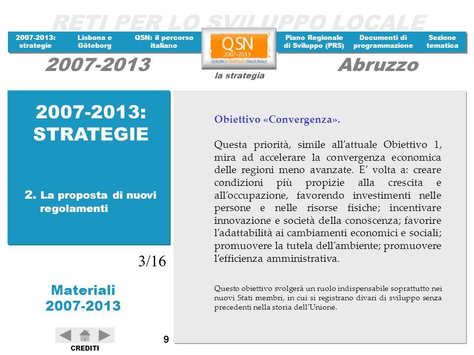 RETI PER LO SVILUPPO LOCALE 2007-2013: strategie 2007-2013: strategie Materiali 2007-2013 Lisbona e Göteborg Lisbona e Göteborg QSN: il percorso italiano QSN: il percorso italiano Piano Regionale di Sviluppo (PRS) Piano Regionale di Sviluppo (PRS) Documenti di programmazione Documenti di programmazione Sezione tematica Sezione tematica la strategia 2007-2013Abruzzo CREDITI 110 Dal riesame intermedio del processo è emerso, tuttavia, che i risultati della strategia non sono stati soddisfacenti.