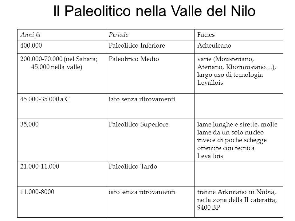 Il Paleolitico nella Valle del Nilo Anni faPeriodoFacies 400.000Paleolitico InferioreAcheuleano 200.000-70.000 (nel Sahara; 45.000 nella valle) Paleol
