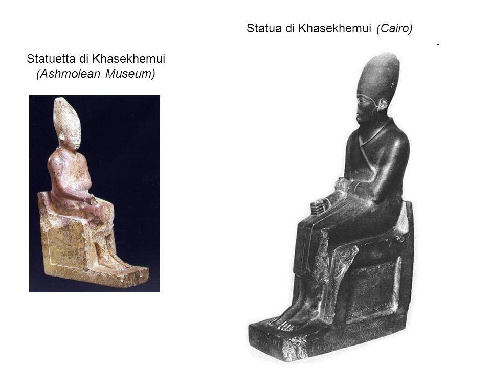 Statuetta di Khasekhemui (Ashmolean Museum) Statua di Khasekhemui (Cairo)