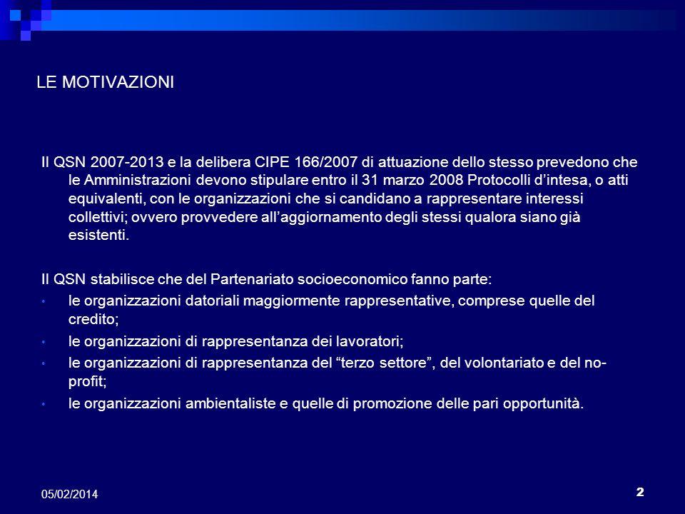 2 05/02/2014 LE MOTIVAZIONI Il QSN 2007-2013 e la delibera CIPE 166/2007 di attuazione dello stesso prevedono che le Amministrazioni devono stipulare