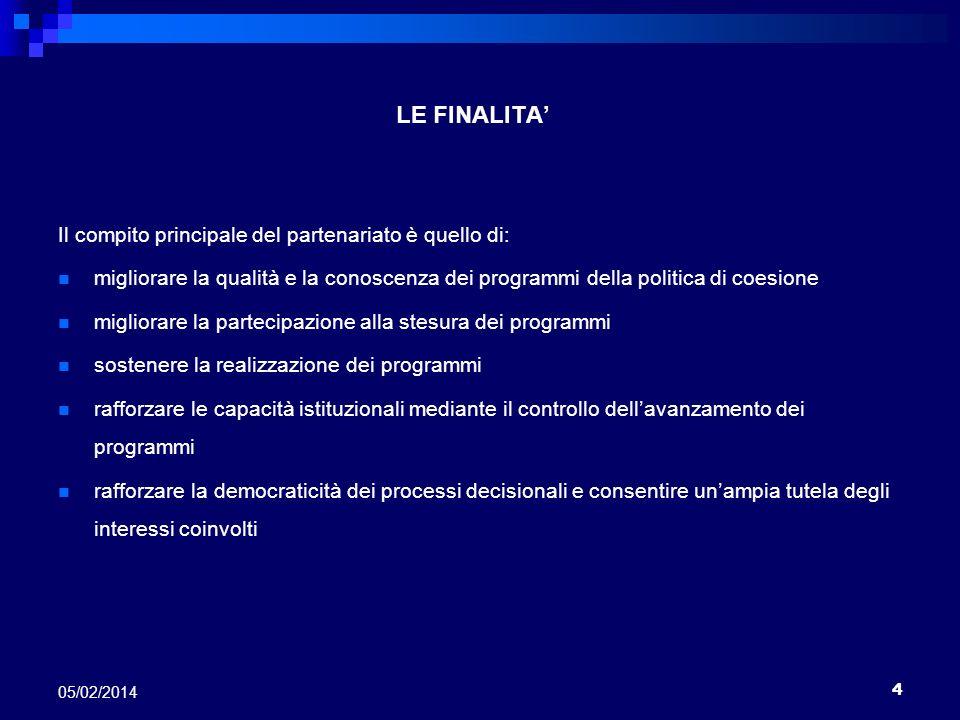 4 05/02/2014 LE FINALITA Il compito principale del partenariato è quello di: migliorare la qualità e la conoscenza dei programmi della politica di coe