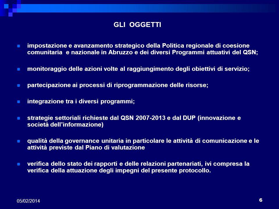 6 05/02/2014 GLI OGGETTI impostazione e avanzamento strategico della Politica regionale di coesione comunitaria e nazionale in Abruzzo e dei diversi P