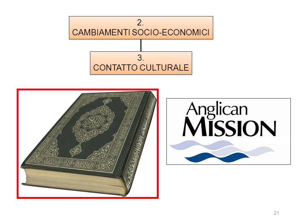 21 1. ISOLATION 2. CAMBIAMENTI SOCIO-ECONOMICI 2. CAMBIAMENTI SOCIO-ECONOMICI 3. CONTATTO CULTURALE 3. CONTATTO CULTURALE