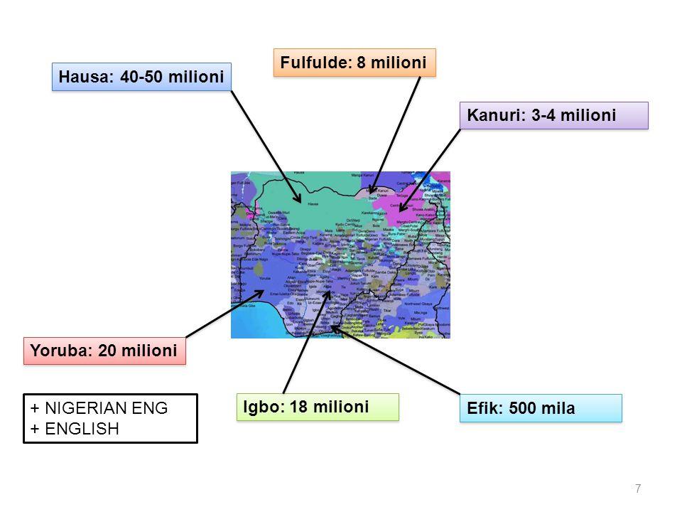 Hausa: 40-50 milioni Yoruba: 20 milioni Kanuri: 3-4 milioni Efik: 500 mila Fulfulde: 8 milioni Igbo: 18 milioni + NIGERIAN ENG + ENGLISH 7