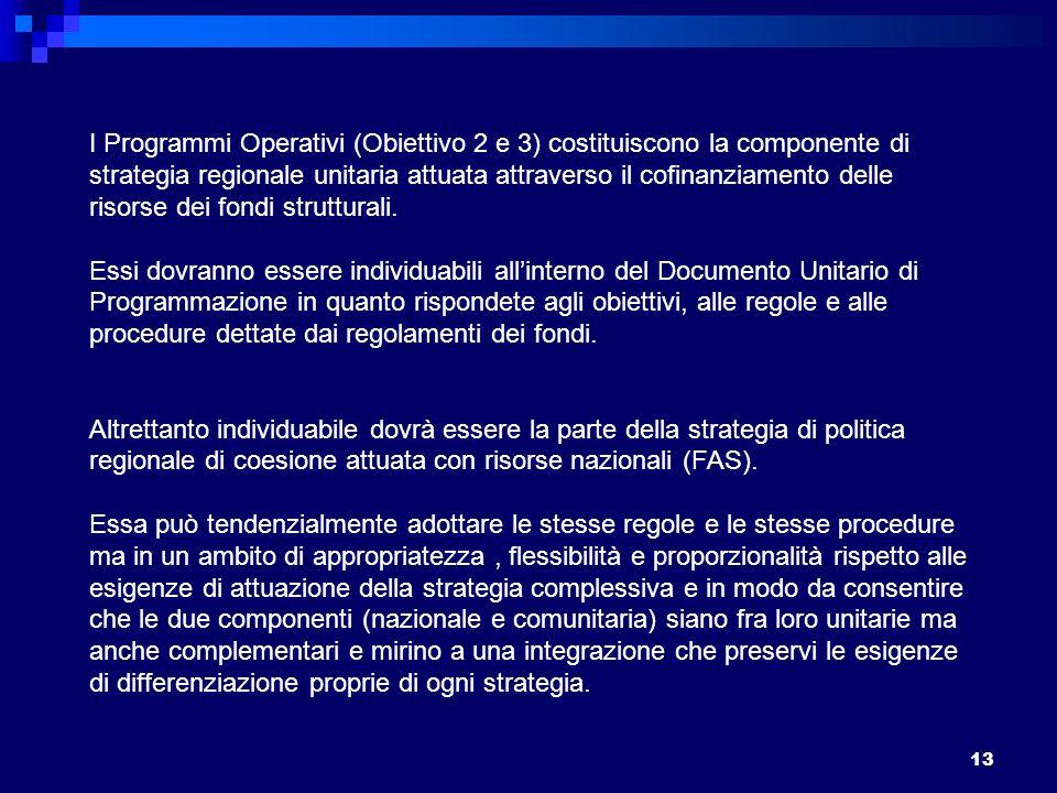 13 I Programmi Operativi (Obiettivo 2 e 3) costituiscono la componente di strategia regionale unitaria attuata attraverso il cofinanziamento delle risorse dei fondi strutturali.