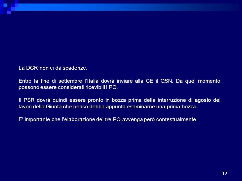 17 La DGR non ci dà scadenze. Entro la fine di settembre lItalia dovrà inviare alla CE il QSN.