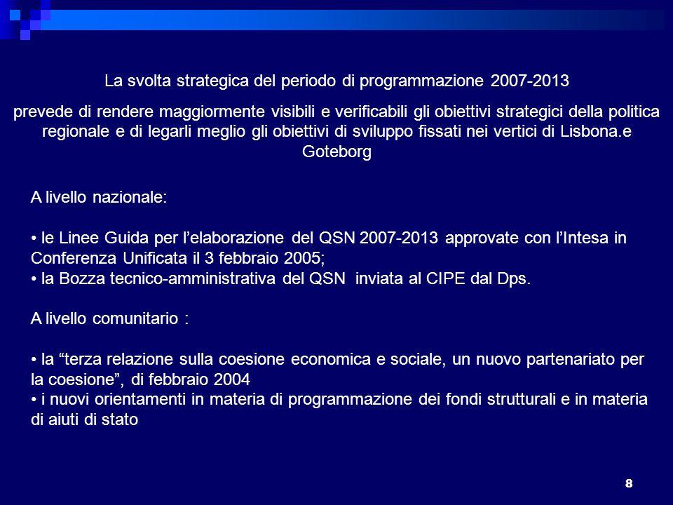 8 La svolta strategica del periodo di programmazione 2007-2013 prevede di rendere maggiormente visibili e verificabili gli obiettivi strategici della politica regionale e di legarli meglio gli obiettivi di sviluppo fissati nei vertici di Lisbona.e Goteborg A livello nazionale: le Linee Guida per lelaborazione del QSN 2007-2013 approvate con lIntesa in Conferenza Unificata il 3 febbraio 2005; la Bozza tecnico-amministrativa del QSN inviata al CIPE dal Dps.