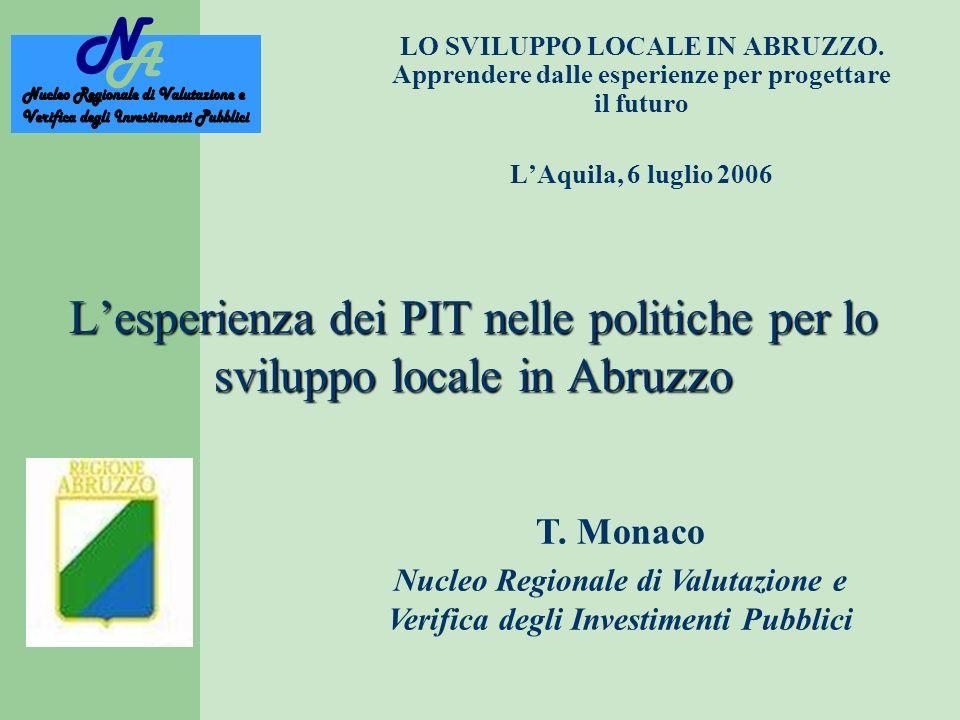 Lesperienza dei PIT nelle politiche per lo sviluppo locale in Abruzzo LO SVILUPPO LOCALE IN ABRUZZO.