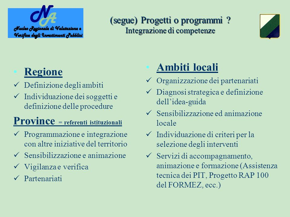 (segue) Progetti o programmi .