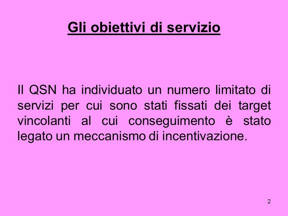 2 Gli obiettivi di servizio Il QSN ha individuato un numero limitato di servizi per cui sono stati fissati dei target vincolanti al cui conseguimento è stato legato un meccanismo di incentivazione.