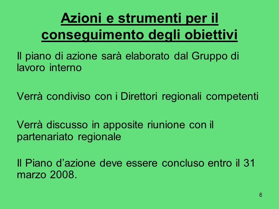 6 Azioni e strumenti per il conseguimento degli obiettivi Il piano di azione sarà elaborato dal Gruppo di lavoro interno Verrà condiviso con i Direttori regionali competenti Verrà discusso in apposite riunione con il partenariato regionale Il Piano dazione deve essere concluso entro il 31 marzo 2008.