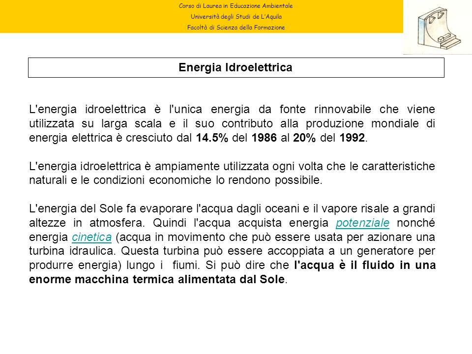 Corso di Laurea in Educazione Ambientale Università degli Studi de LAquila Facoltà di Scienza della Formazione Energia Idroelettrica L'energia idroele